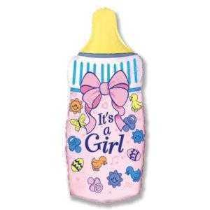 Фигура, Бутылочка для девочки, Розовый, 79 см