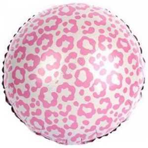 Круг, Окрас леопарда, Розовый, 46см