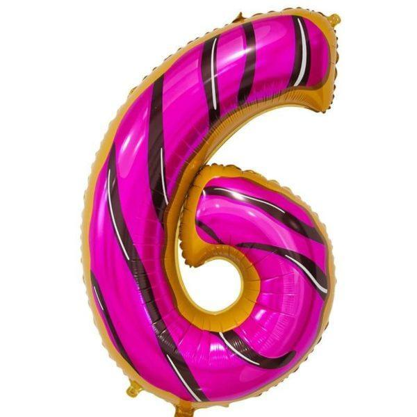 Цифра, 6, Пончик, 86см, 1шт.